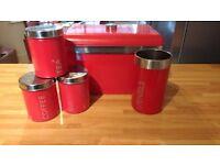 Red Kitchen Accessories, Bread bin, Utensils, Three canisters