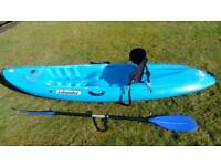 Kayak, paddle, seat and wetsuit