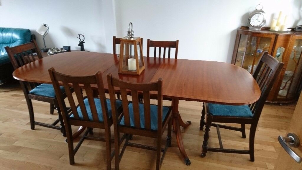 Six seater extendable antique dining table with six chairs (7 feet x 3 feet)