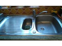 Stainless Steel Sink One and a Half Bowl with tap. Very Good Condition.