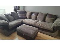 *URGENT*Brown corner couch sofa with foot stool/storage
