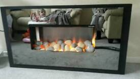 Black mirrored electric fire