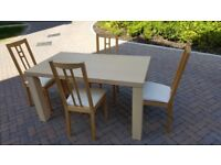 Solid beech dining table & 4 wood/cream chairs