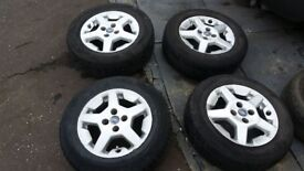 "Fiat 14"" alloy wheels with good tyres"