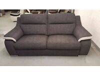 NEW ScS SiSi ITALIA MATTEO AMALIA CHARCOAL CONTRAST SILVER FABRIC 3 Seater Sofa CAN DELIVER