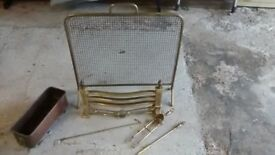 Fireguard and Firegrate (Brass) plus tools and Copper bucket