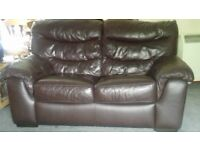Two, two seater Brown leather sofas can be sold separately or together. Have to be collected.