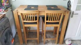 Barker & Stonehouse Table and 4 Leather Stools