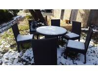 Rattan sound dining table 6 chairs