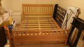 Real wood king size bed frame