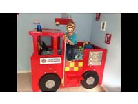 HANDMADE FIRE ENGINE BED. COT BED TODDLER BED SIZE