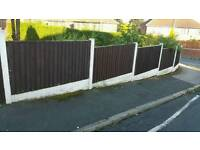 9 x Fence Panels 6ft x 3ft with Gravel Kick Boards