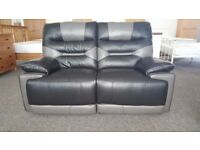 Ex-Display ScS Venus Black/Grey 2 Seater Manual Recliner Sofa **CAN DELIVER**