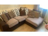 Brown 3 seat, 2 seat sofa and pouffe (delivery available)