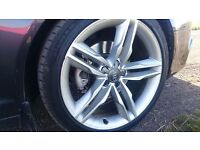 "Audi S5 speedline 19"" genuine alloys and continental tyres."