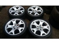GENUINE STAGGERED BORBET 19 VW T5 TIGER CLAW ALLOY WHEELS E46 E90 2 NEW TYRES