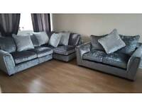BRAND NEW Crushed Velvet Sofa Set Corner + 2 Seater RRP £1999 DELIVERY AVAILABLE