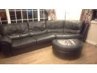 Leather corner suite with large foot stool