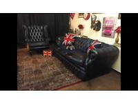 Chesterfield 3 Seater Sofa & Queen Anne Wing Back Chair Blue Genuine Settee (Deliver Available)