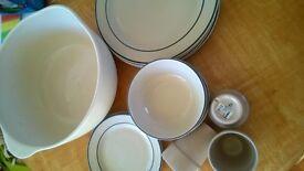 job lot kitchen 15 pcs earthenware natural dinner service plates bowls tart tins lg bowl stoneware