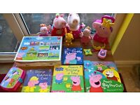 Peppa Pig bundle - Hide'n'Seek Peppa / soft toys / mobile phone / jewellery box / books / lunch box