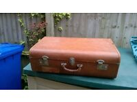 Vintage Leather Suitcase with Swiss customs sticker