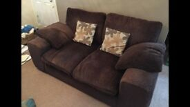 2 x Two Seater Sofas Brown