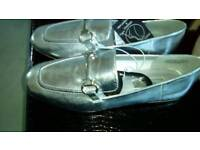 LADIES SILVER LOAFERS (new)