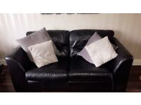 2 x 2 black real leather sofa