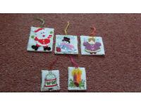 5 Handmade Cross Stitch Christmas Decorations