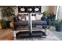Cantilever Black Glass TV stand