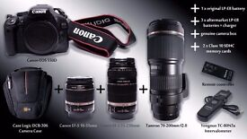 Canon EOS 550D + 18-55mm + 55-250mm + 70-200mm + more