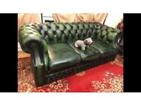 Chesterfield 3 Seater Genuine Green Leather Sofa / Settee For Sale!