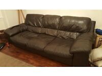 3 seater brown leather sofa and large matching arm chair
