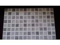 "11 grey check wall tiles - 15.5 "" X 9 THREE QUARTER "" 3 grey 1""square pattern white around"