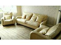 Duresta leather 3 piece sofa & chairs