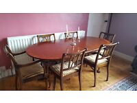 Reproduction Mahogany Regency Style Dining Table, 6 Chairs and Sideboard.