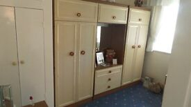Double wardrobe x2 and vanity unit, overhead storage. bedside cab & drawer set matching