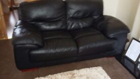 Black leather 3+2 seater