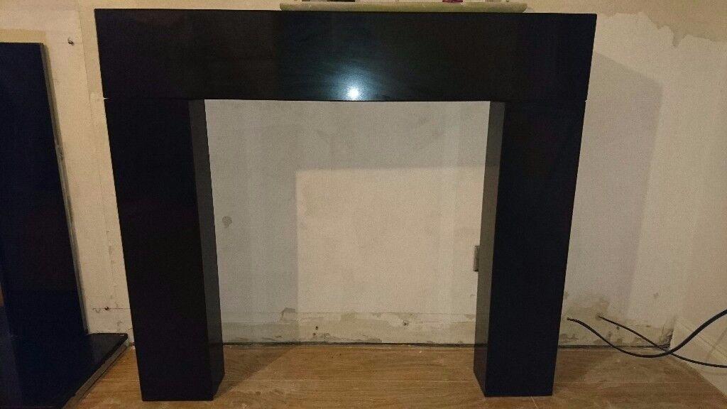 Black Quartz Fireplace Surround