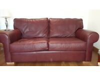 Burgundy 3 Piece Suite - Leather Sofa and fabric sofa and chair