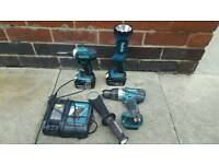 Makita drill, impact driver and torch plus 2 batteries