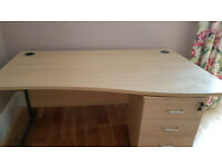 Light Beech Desk and Drawers
