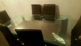 Glass dining table 6 leather chairs