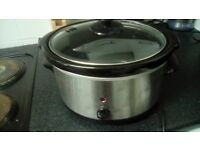 Brushed metal / silver slow cooker - good condition, full working order, different settings