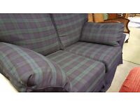 Green and Blue Checked Sofa in Good Condition