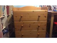Baby change table wooden/drawers