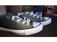 Converse All Stars metallic grey/sliver size 4 brand new
