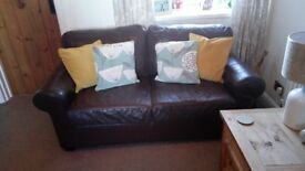 Brown leather 3 seater sofa and 2 matching arm chairs