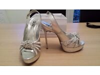 Silver shoes with diamontes size 6